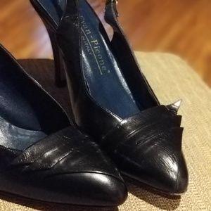 Evan-Picone black Italian leather high heel shoe